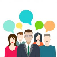 Social marketing word of mouth gossip flat web infographic internet online technology concept vector template. Groups of micro people and chat callout signs. Creative people collection.
